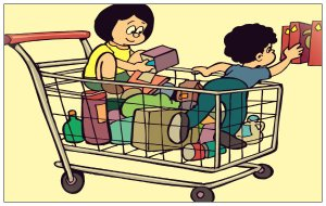 shopping cart with kids